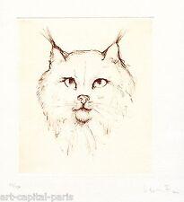 FINI LEONOR GRAVURE CHAT SIGNÉE AU CRAYON NUM/150 HANDSIGNED NUMB ETCHING CAT