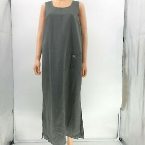 pellini-overall-dress-gray-long-sleeveless-womens-sz-L-Large-LW24