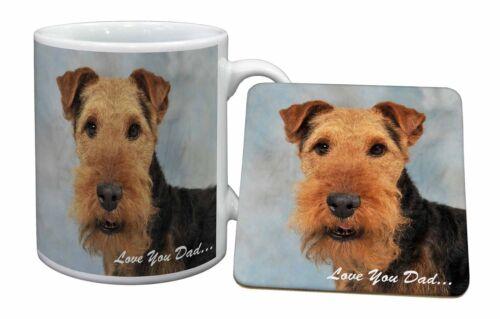 Welsh Terrier Dog /'Love You Dad/' Mug+Coaster Christmas//Birthday Gift DAD-136MC