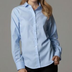 Senoras-Camisa-Azul-Nuevo-Oficina-de-Trabajo-camisa-de-mangas-largas-Kustom-Kit-KK316-Nuevo