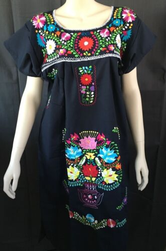 ANY COLOR PEASANT VINTAGE TUNIC EMBROIDERED MEXICAN DRESS S M L XL XXL PLUS SIZE