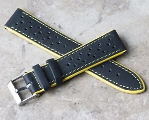 Yellow-Stripes-20mm-rally-watch-strap-yellow-edges-amp-stitching-with-satin-buckle