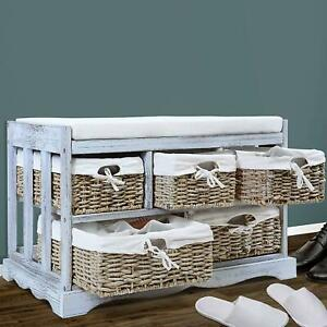 Pleasing Details About White Shabby Chic Storage Bench Solid Wood Padded Cushion Seat 5 Wicker Baskets Onthecornerstone Fun Painted Chair Ideas Images Onthecornerstoneorg
