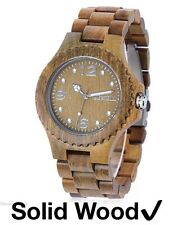 Mens Walnut Wood Watch Bewell ZX Japan Analog Quartz Movement & Date Display