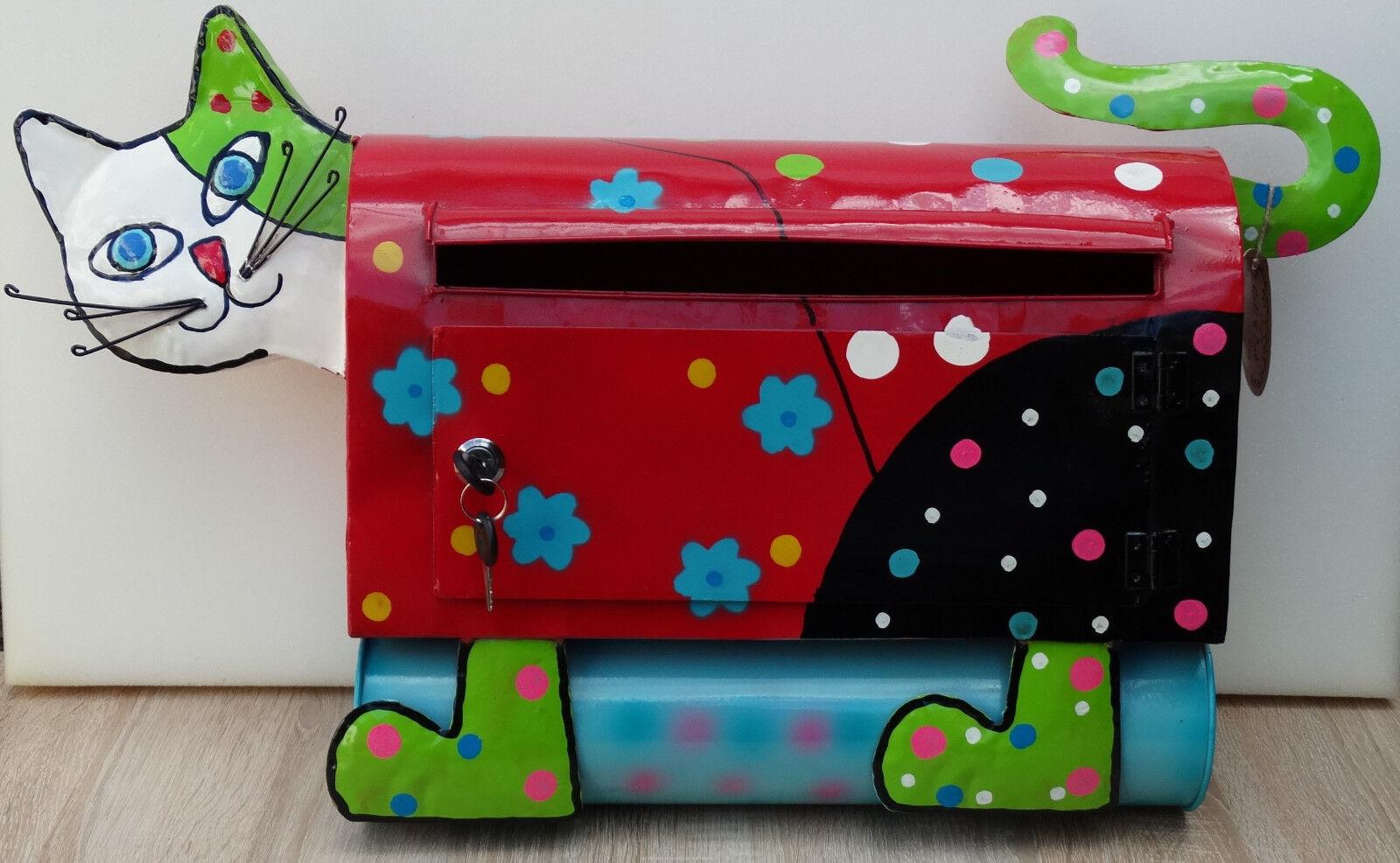 2.WAHL Briefkasten mit Zeitungsrolle Katze rot Postkasten Mailbox Metall B-23