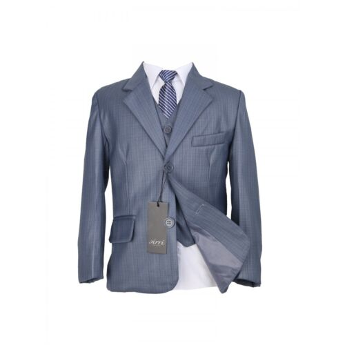 Kids 5 Piece Grey Suit Wedding Communion Suits For Boys With A Stripped Tie
