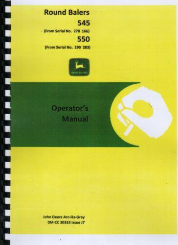 John Deere 545 y 550 redonda empacadora Manual del operador