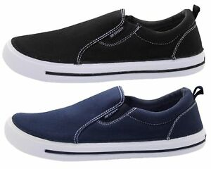 Mens-Slip-On-UK-Comfy-Loafers-Canvas-Plimsoll-Pumps-Skate-Casual-Deck-Shoes