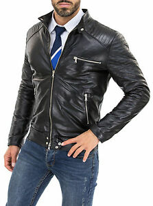 Giacca-Giubbotto-Uomo-in-di-PELLE-100-Men-Leather-Jacket-Veste-Homme-Cuir-w88