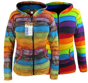 Ladies-Hippie-Striped-Rainbow-Winter-Pixie-Pointed-Long-Hood-Elf-Hoodie-Jacket