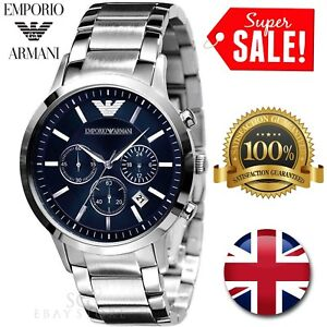 7f400ede1d8 Image is loading NEW-EMPORIO-ARMANI-AR2448-MENS-STAINLESS-STEEL-BLUE-