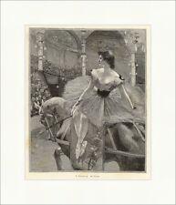 F. Flameng. Im Circus Reiterin Pferd Artistin Manege Logen Holzstich E 8762
