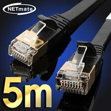 [NETmate] CAT.7 STP FLAT Ethernet Network Cable,CAT7,RJ45,LAN, Black - 5m, 16ft