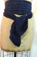 """Authentic Chanel Obi Style Navy Pleated Suede Wide Belt 4.5"""" Wide Fit All Sizes"""