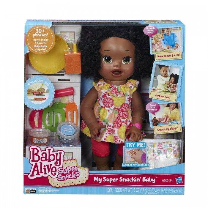 Baby Alive Muñeca Bebé vivo Super bocadillos Snackin 'Sara African American todo..