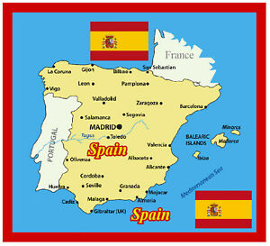 Big Map Of Spain.Details About Spain Map Flag Souvenir Novelty Big Square Fridge Magnet Sights Gifts
