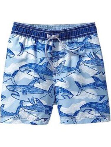NWT Old Navy Shark Print Sharks Swim Trunks Board Shorts Swimwear UPF-50 3T 4T