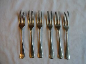6-x-Vintage-6-75-034-Dessert-Forks-034-Old-English-034