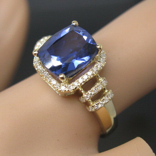 SOLID 14K YELLOW gold NATURAL STUNNING blueE TANZANITE DIAMOND WEDDING RING