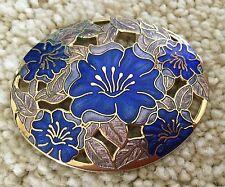 Vintage FISH & CROWN Large CLOISONNE enameled HIBISCUS Flower BROOCH Pin Gold