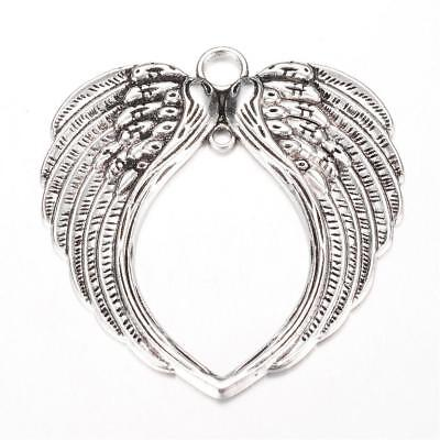 2 x VERY LARGE SILVER HEART SHAPE ANGEL WING 2 Hole CONNECTOR CHARM PENDANT 69mm