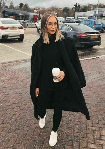 Nuevo polo para mujer grueso de punto Loungewear Damas Traje Conjunto De Canalé Top de cuello alto