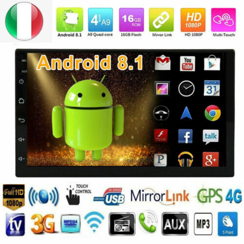 "autoradio: 7""Autoradio Android 8.1 GPS Navigatore Bluetooth WIFI MP3 FM Mirror Link 2 Din"