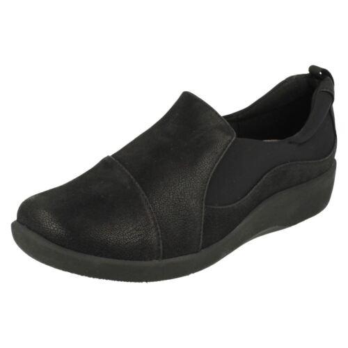 Clarks Sillian Paz Womens Black Elasticated Lightweight Slip On Loafer Shoes