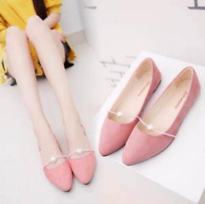 Hot-Women-Lady-Boat-Shoes-Casual-Flat-Ballet-Slip-On-Flats-Loafers-Single-Shoes