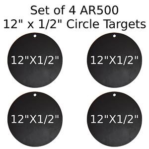 Conjunto de 4 círculo de destino de acero AR500 1 2  X 12  pintado de negro práctica de disparo