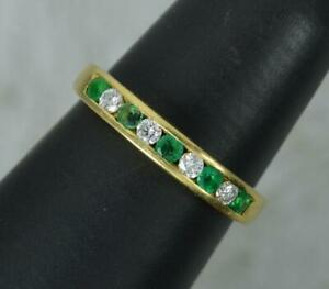 Gorgeous 18 Carat Gold Vs Diamond & Emerald Half Eternity Stack Ring