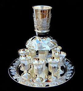 Wine-Fountain-1-Kiddush-cup-amp-8-Goblets-Silver-plate-Judaica-israel-shabbat