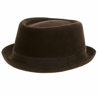 Hawkins Black Cord Porkpie Trilby Hat. fast  post