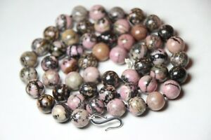 Rhodonite-Pink-amp-Black-Natural-10mm-Ball-Gemstone-Necklace-925-Silver-Hook-26-034