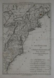 Florida To Maine Map.Original 1788 Bonne Map Eastern United States Forts Indian Tribes