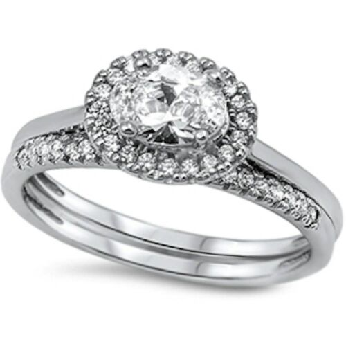 1.25CT Fine Quality Cz 2 Rings Set .925 Sterling Silver Ring Sizes 5-10