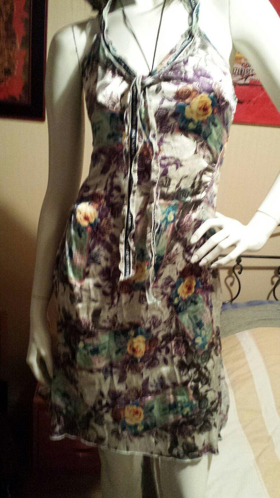 Robe en soie Jean's Jean Paul Gaultier motifs florales L 40 12.