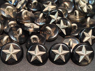 13 pcs Classic Military Star Button w/Imm GreyTortoise Shell Shank Base 18/mm