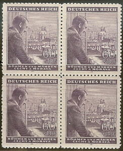 Stamp Germany Bohemia B&M Mi 126 Sc B18 Block 1943 WW2 3rd Reich Hitler MNH