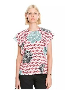 COUNTRY-ROAD-Ladies-Flutter-Sleeve-Print-Top-Blouse-Size-XS-8-10-BNWT-119