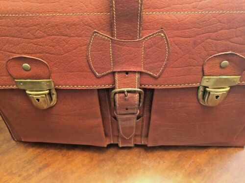 1950's French All Leather Briefcase / Attache / Do