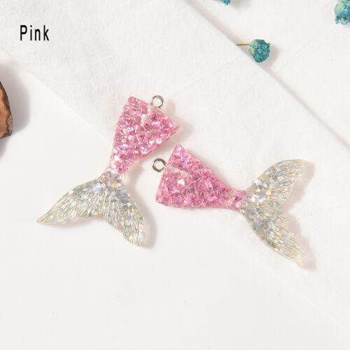 Mixed Glitter Mermaid Fish Tail Resin Charm Pendant Fit Bracelet//Necklace UK