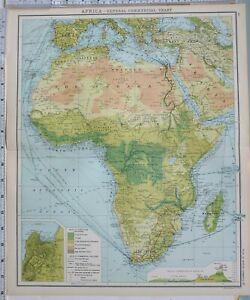 1906 Landkarte Afrika Handels Tabelle Sahara Tripoli Algerien Kongo Staat Umhang
