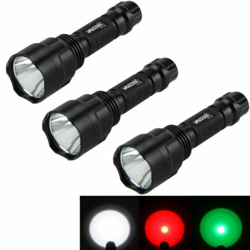Tactical C8 T6//Q5 LED White//Red//Green//Light 18650 Flashlight Torch Hunting Lamps