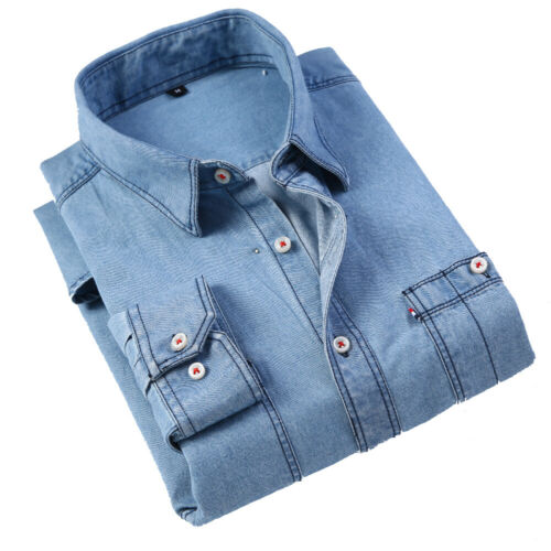 New Men/'s Jeans Shirt Biker Bomber Button Washed Casual Denim shirts 6545