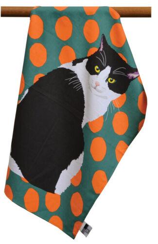 Leslie Gerry Black /& White Cat Design Tea Towel 100/% Cotton Dish Cloth Kitchen