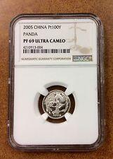 {BJSTAMPS}  2005 China 1/10 oz Platinum Proof Panda NGC PF69 uc