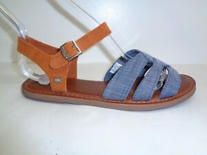 c759b16ee6f Toms Size 9.5 ZOE Chambray Denim Brown Suede Sandals New Womens ...