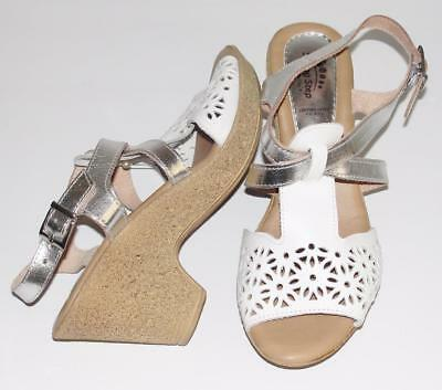 SPRING STEP~NWOB~WHITE/ METALLIC SILVER~LEATHER~COMFORT WEDGE SANDALS SHOES~40