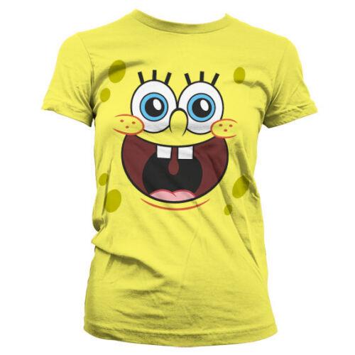 Oficialmente licenciado Sponge bob-Esponja feliz cara Mujeres T-Shirt Tallas S-XXL